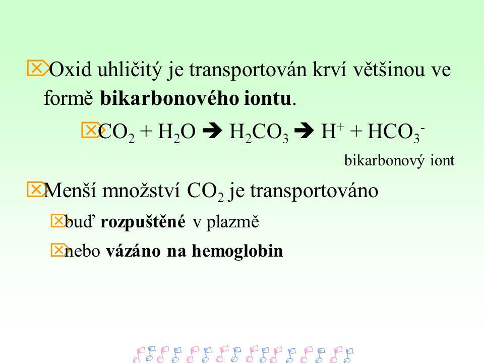  Oxid uhličitý je transportován krví většinou ve formě bikarbonového iontu.  CO 2 + H 2 O  H 2 CO 3  H + + HCO 3 - bikarbonový iont  Menší množst