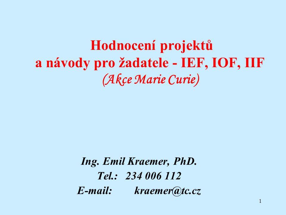 1 Hodnocení projektů a návody pro žadatele - IEF, IOF, IIF (Akce Marie Curie) Ing. Emil Kraemer, PhD. Tel.: 234 006 112 E-mail:kraemer@tc.cz