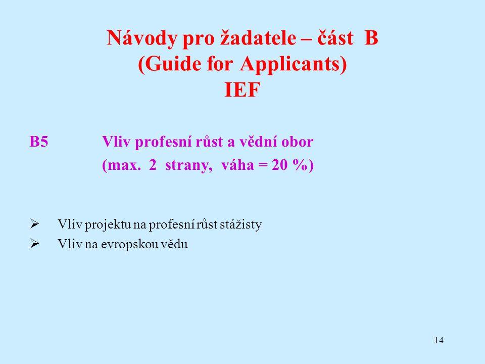 14 Návody pro žadatele – část B (Guide for Applicants) IEF B5Vliv profesní růst a vědní obor (max. 2 strany, váha = 20 %)  Vliv projektu na profesní