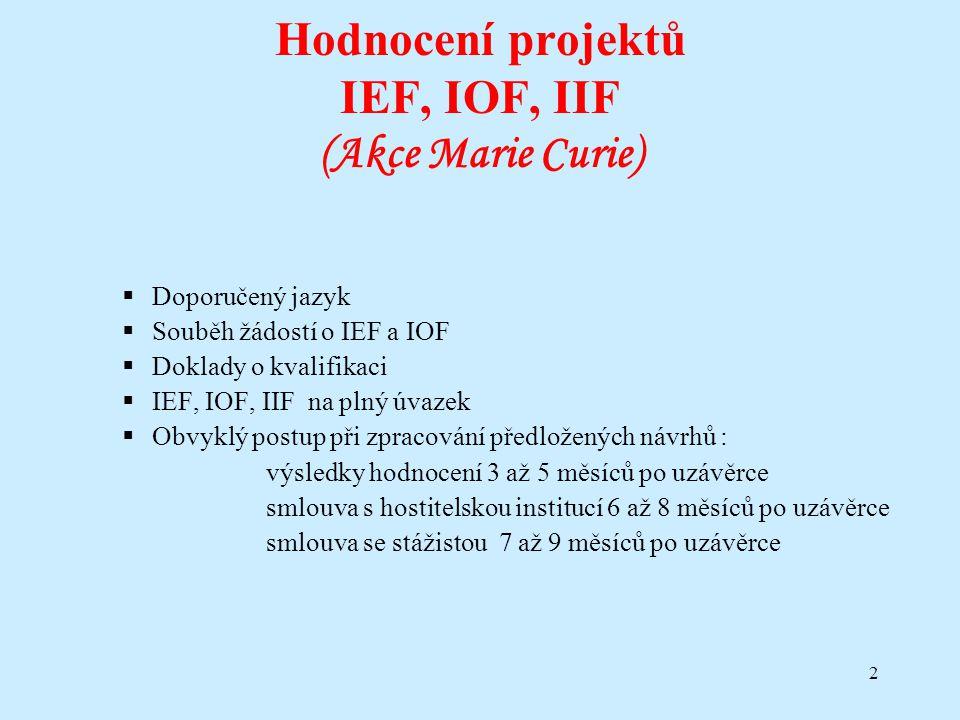 2 Hodnocení projektů IEF, IOF, IIF (Akce Marie Curie)  Doporučený jazyk  Souběh žádostí o IEF a IOF  Doklady o kvalifikaci  IEF, IOF, IIF na plný
