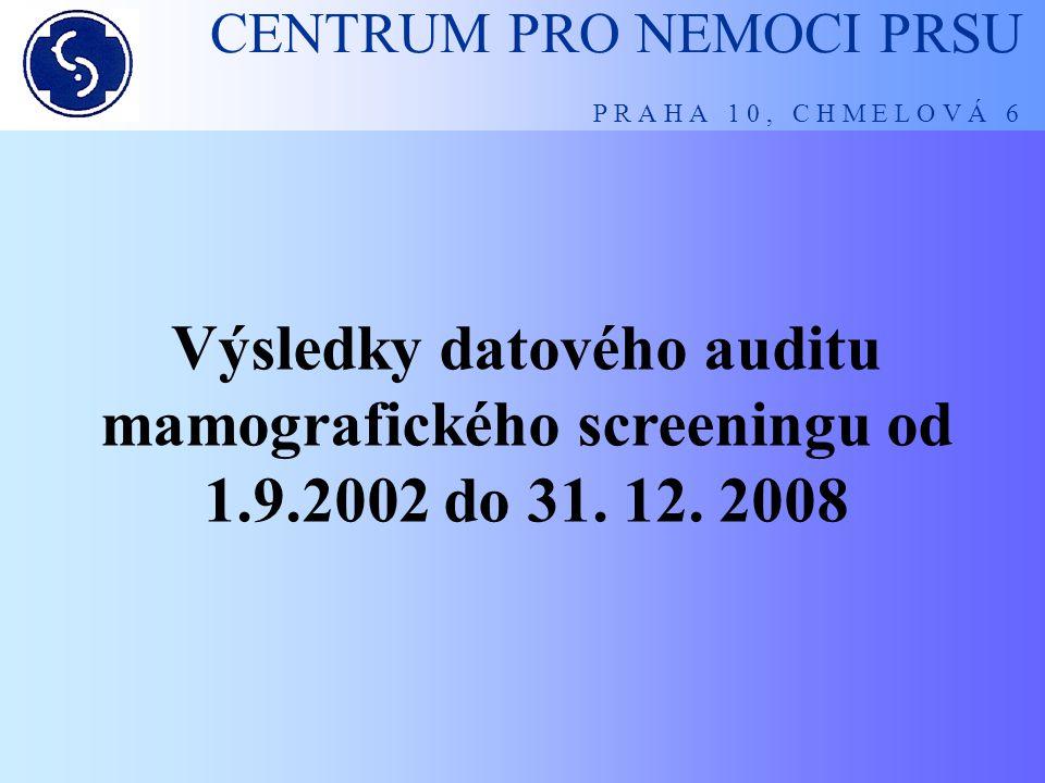 CENTRUM PRO NEMOCI PRSU P R A H A 1 0, C H M E L O V Á 6 Výsledky datového auditu mamografického screeningu od 1.9.2002 do 31. 12. 2008