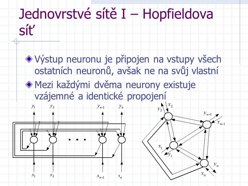 Jednovrstvé sítě I – Hopfieldova síť Výstup neuronu je připojen na vstupy všech ostatních neuronů, avšak ne na svůj vlastní Mezi každými dvěma neurony