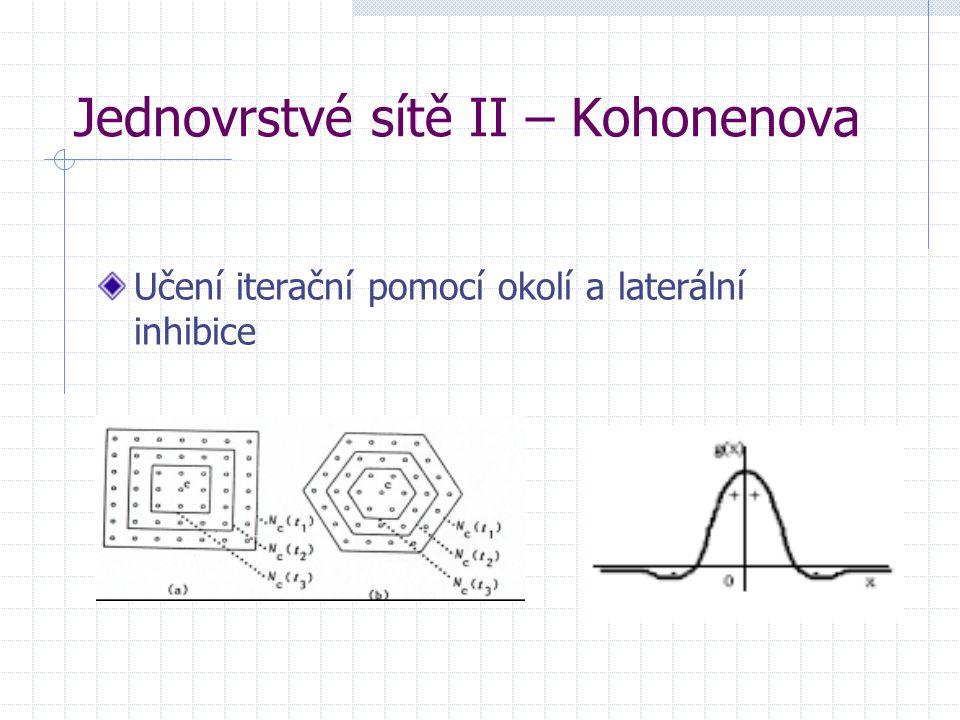 Jednovrstvé sítě II – Kohonenova Učení iterační pomocí okolí a laterální inhibice