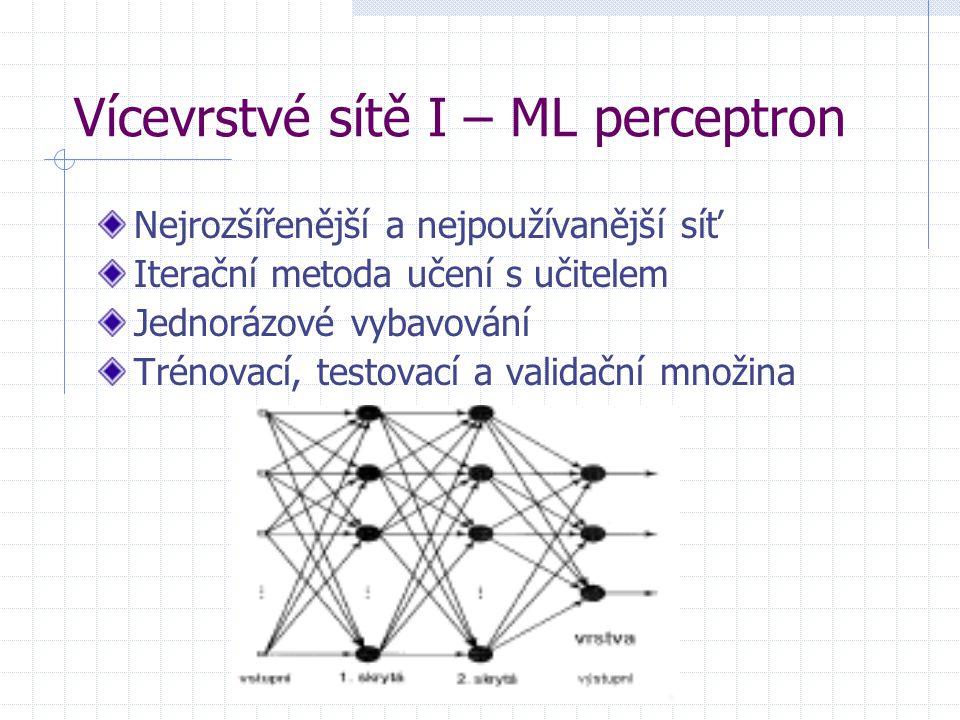 Vícevrstvé sítě I – ML perceptron Nejrozšířenější a nejpoužívanější síť Iterační metoda učení s učitelem Jednorázové vybavování Trénovací, testovací a