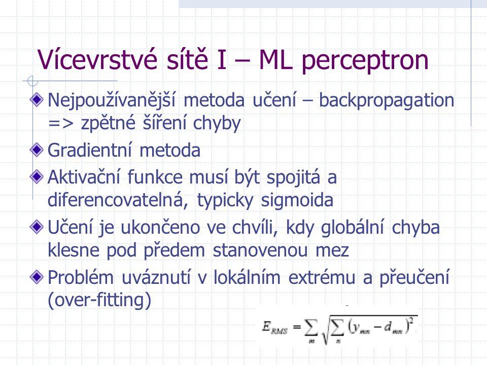 Vícevrstvé sítě I – ML perceptron Nejpoužívanější metoda učení – backpropagation => zpětné šíření chyby Gradientní metoda Aktivační funkce musí být sp