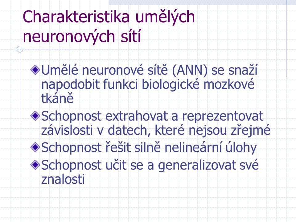 Charakteristika umělých neuronových sítí Umělé neuronové sítě (ANN) se snaží napodobit funkci biologické mozkové tkáně Schopnost extrahovat a reprezen