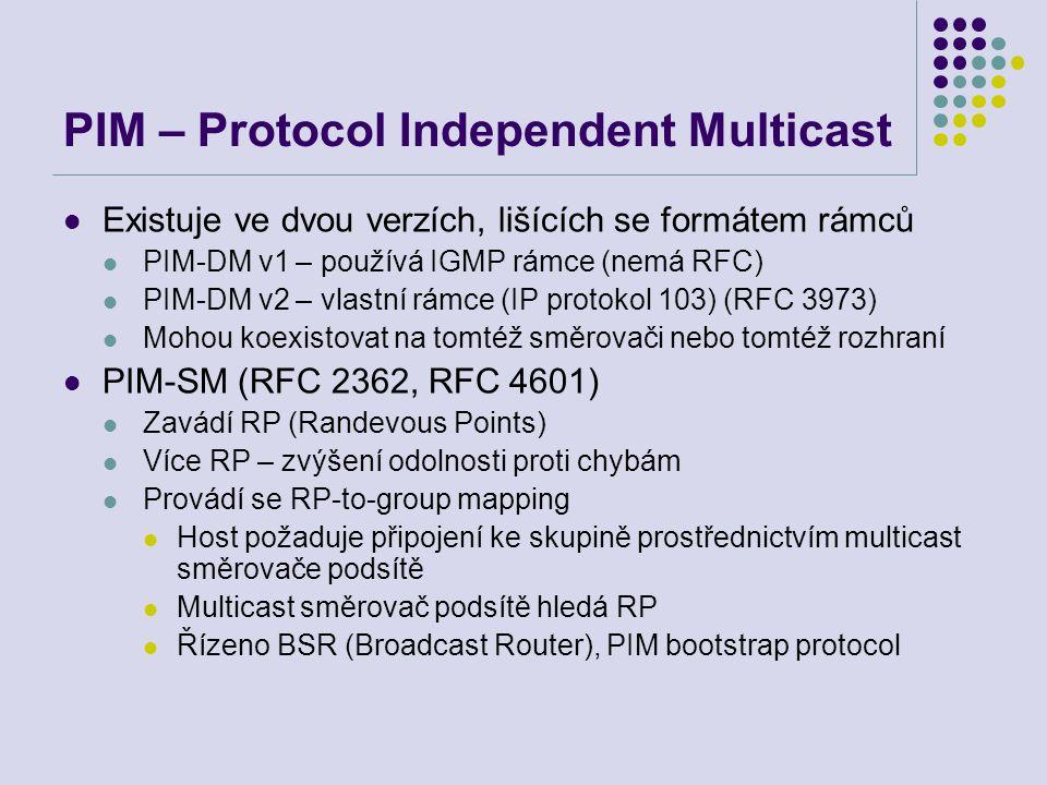 PIM – Protocol Independent Multicast Existuje ve dvou verzích, lišících se formátem rámců PIM-DM v1 – používá IGMP rámce (nemá RFC) PIM-DM v2 – vlastn