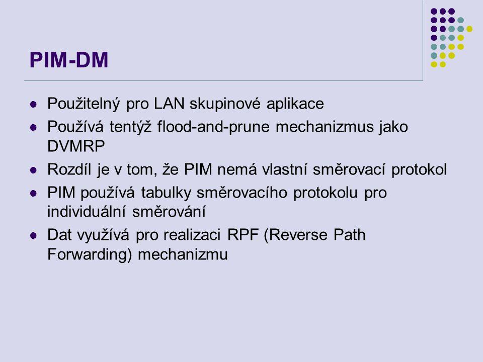 PIM-DM Použitelný pro LAN skupinové aplikace Používá tentýž flood-and-prune mechanizmus jako DVMRP Rozdíl je v tom, že PIM nemá vlastní směrovací prot