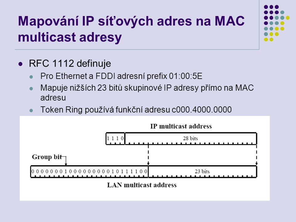 Mapování IP síťových adres na MAC multicast adresy RFC 1112 definuje Pro Ethernet a FDDI adresní prefix 01:00:5E Mapuje nižších 23 bitů skupinové IP adresy přímo na MAC adresu Token Ring používá funkční adresu c000.4000.0000