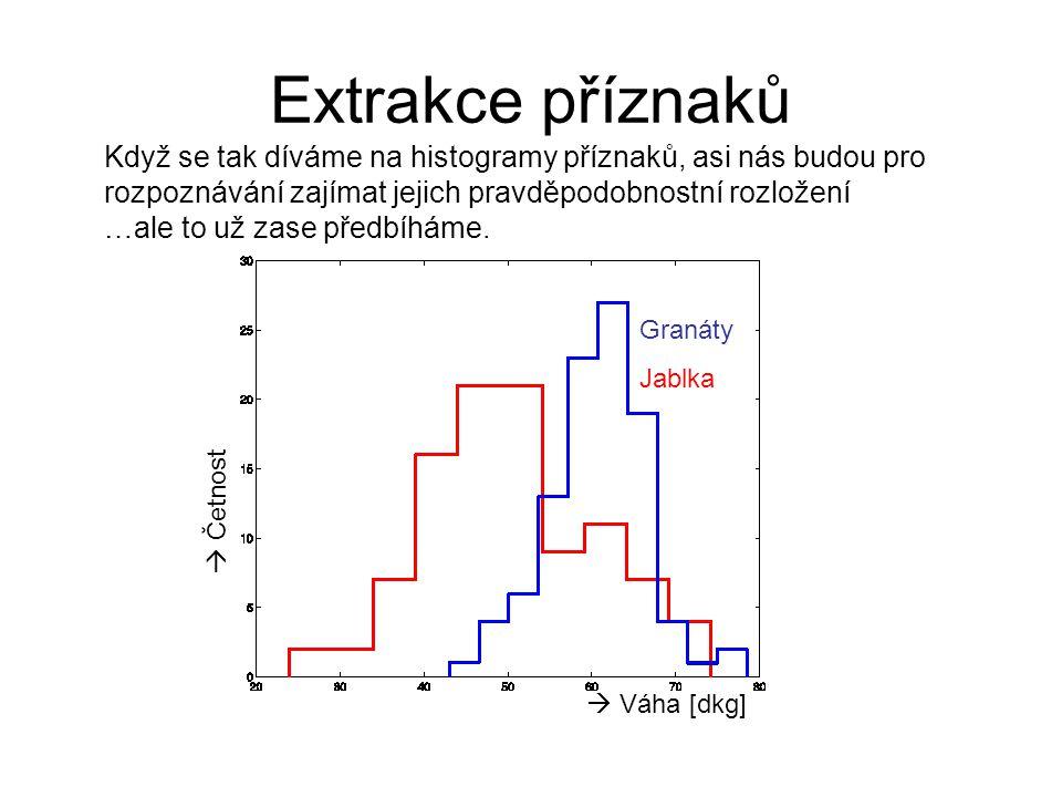 Extrakce příznaků  Četnost  Váha [dkg] Granáty Jablka Když se tak díváme na histogramy příznaků, asi nás budou pro rozpoznávání zajímat jejich pravd