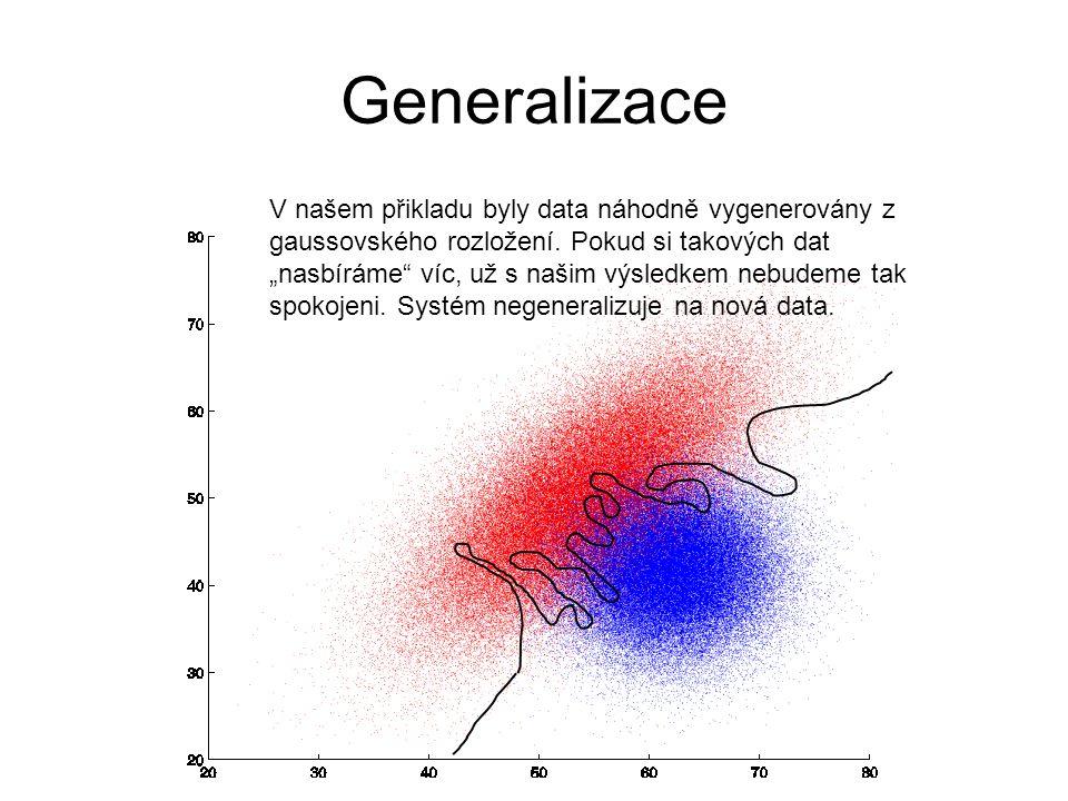 """Generalizace V našem přikladu byly data náhodně vygenerovány z gaussovského rozložení. Pokud si takových dat """"nasbíráme"""" víc, už s našim výsledkem neb"""