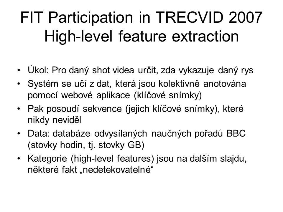 FIT Participation in TRECVID 2007 High-level feature extraction Úkol: Pro daný shot videa určit, zda vykazuje daný rys Systém se učí z dat, která jsou