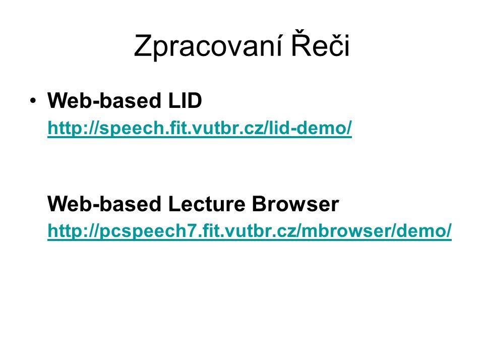 Zpracovaní Řeči Web-based LID http://speech.fit.vutbr.cz/lid-demo/ Web-based Lecture Browser http://pcspeech7.fit.vutbr.cz/mbrowser/demo/ http://speec