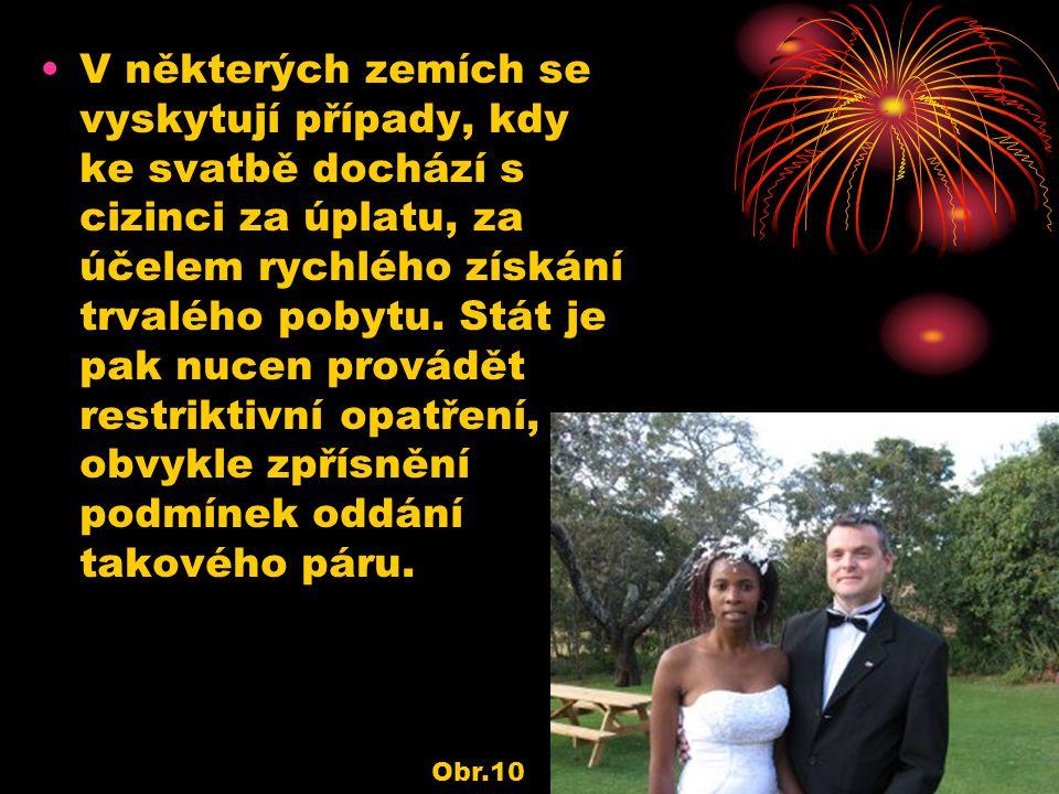 V některých zemích se vyskytují případy, kdy ke svatbě dochází s cizinci za úplatu, za účelem rychlého získání trvalého pobytu. Stát je pak nucen prov