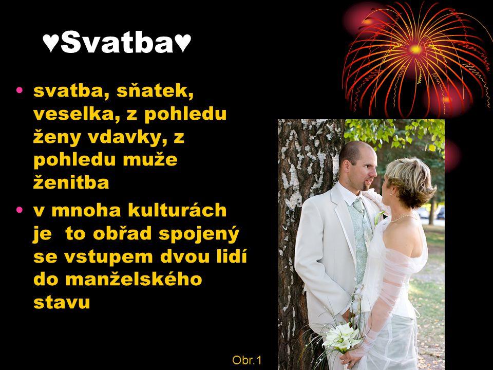 ♥Svatba♥ svatba, sňatek, veselka, z pohledu ženy vdavky, z pohledu muže ženitba v mnoha kulturách je to obřad spojený se vstupem dvou lidí do manželského stavu Obr.1