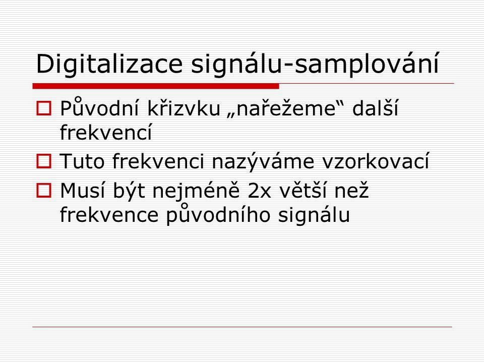 """Digitalizace signálu-samplování  Původní křizvku """"nařežeme"""" další frekvencí  Tuto frekvenci nazýváme vzorkovací  Musí být nejméně 2x větší než frek"""