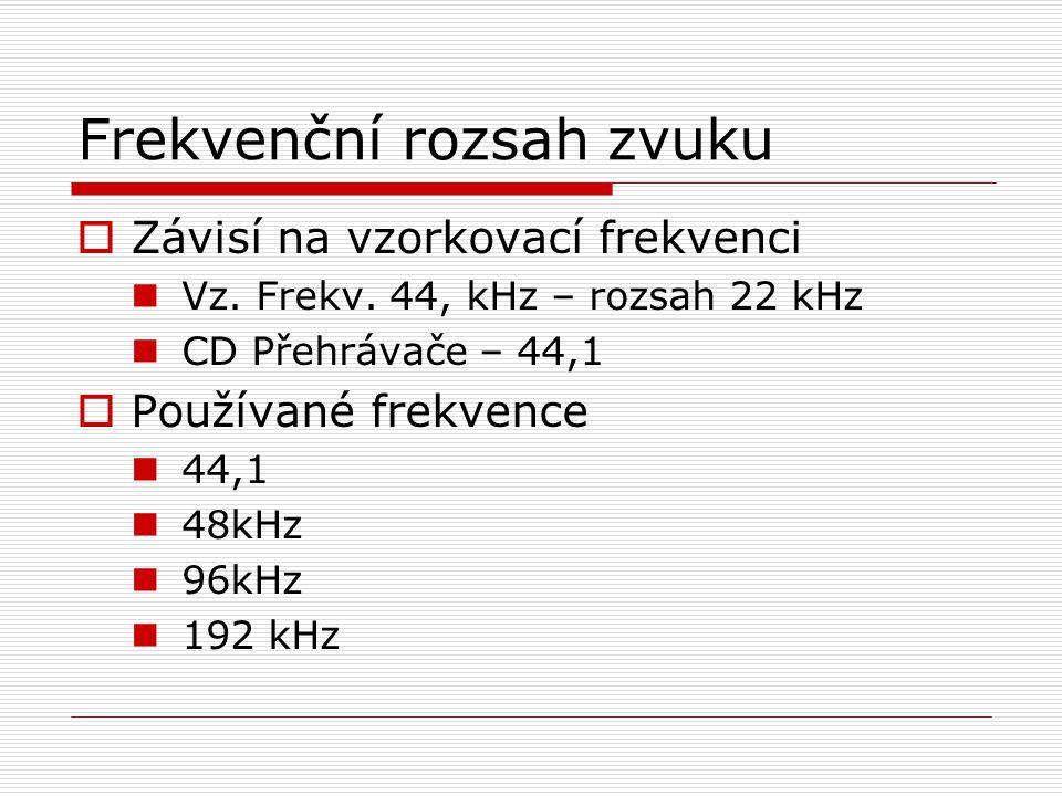 Frekvenční rozsah zvuku  Závisí na vzorkovací frekvenci Vz. Frekv. 44, kHz – rozsah 22 kHz CD Přehrávače – 44,1  Používané frekvence 44,1 48kHz 96kH