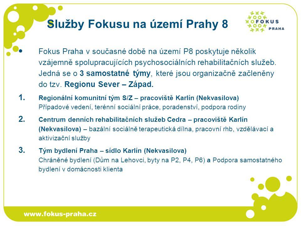Služby Fokusu na území Prahy 8 Fokus Praha v současné době na území P8 poskytuje několik vzájemně spolupracujících psychosociálních rehabilitačních sl