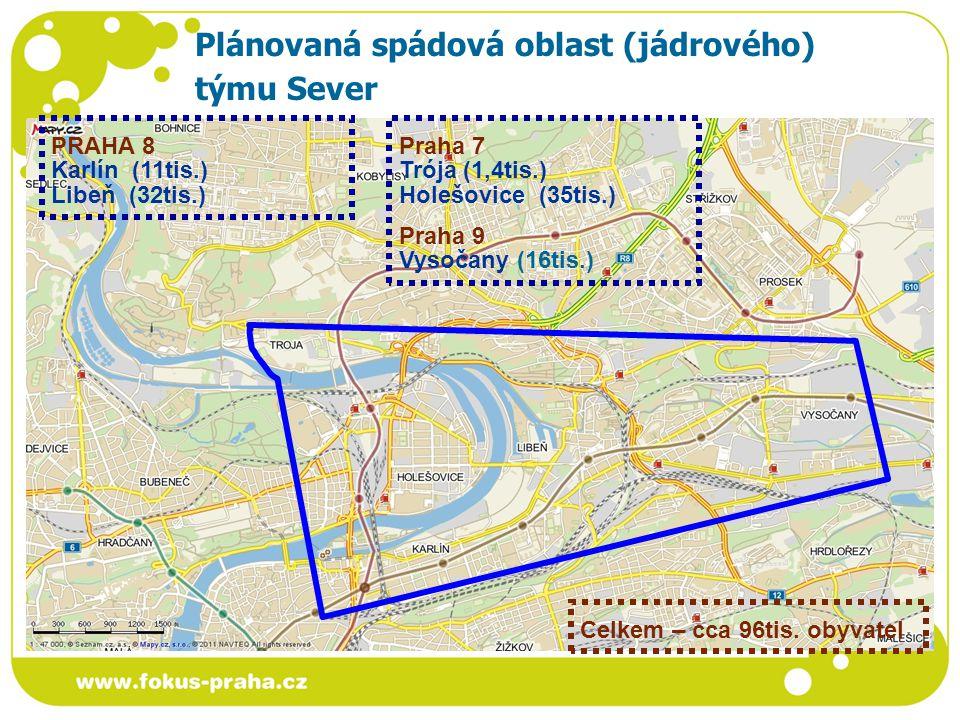 Plánovaná spádová oblast (jádrového) týmu Sever PRAHA 8 Karlín (11tis.) Libeň (32tis.) Praha 7 Trója (1,4tis.) Holešovice (35tis.) Praha 9 Vysočany (16tis.) Celkem – cca 96tis.