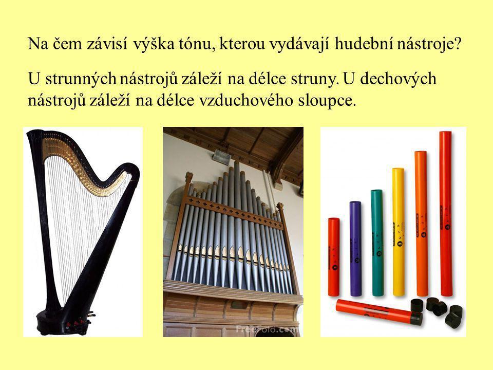 U strunných nástrojů záleží na délce struny. U dechových nástrojů záleží na délce vzduchového sloupce. Na čem závisí výška tónu, kterou vydávají hudeb