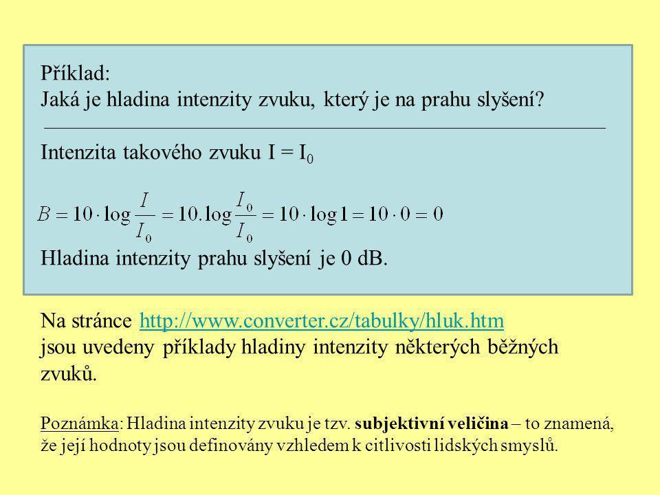 Příklad: Jaká je hladina intenzity zvuku, který je na prahu slyšení? Intenzita takového zvuku I = I 0 Hladina intenzity prahu slyšení je 0 dB. Na strá