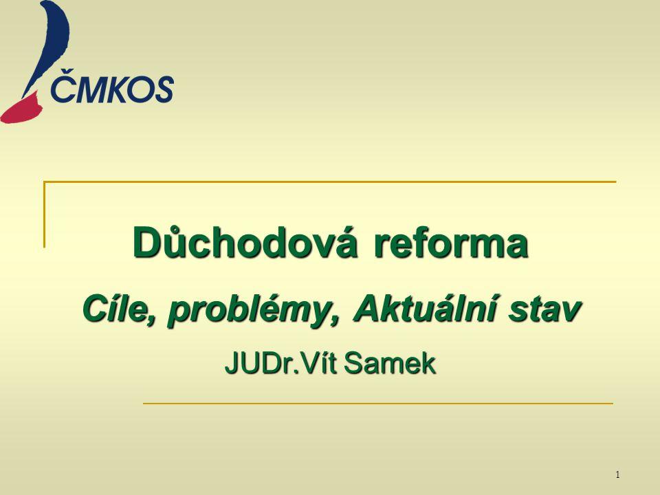 Důchodová reforma Cíle, problémy, Aktuální stav JUDr.Vít Samek 1