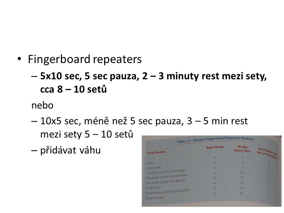 Fingerboard repeaters – 5x10 sec, 5 sec pauza, 2 – 3 minuty rest mezi sety, cca 8 – 10 setů nebo – 10x5 sec, méně než 5 sec pauza, 3 – 5 min rest mezi