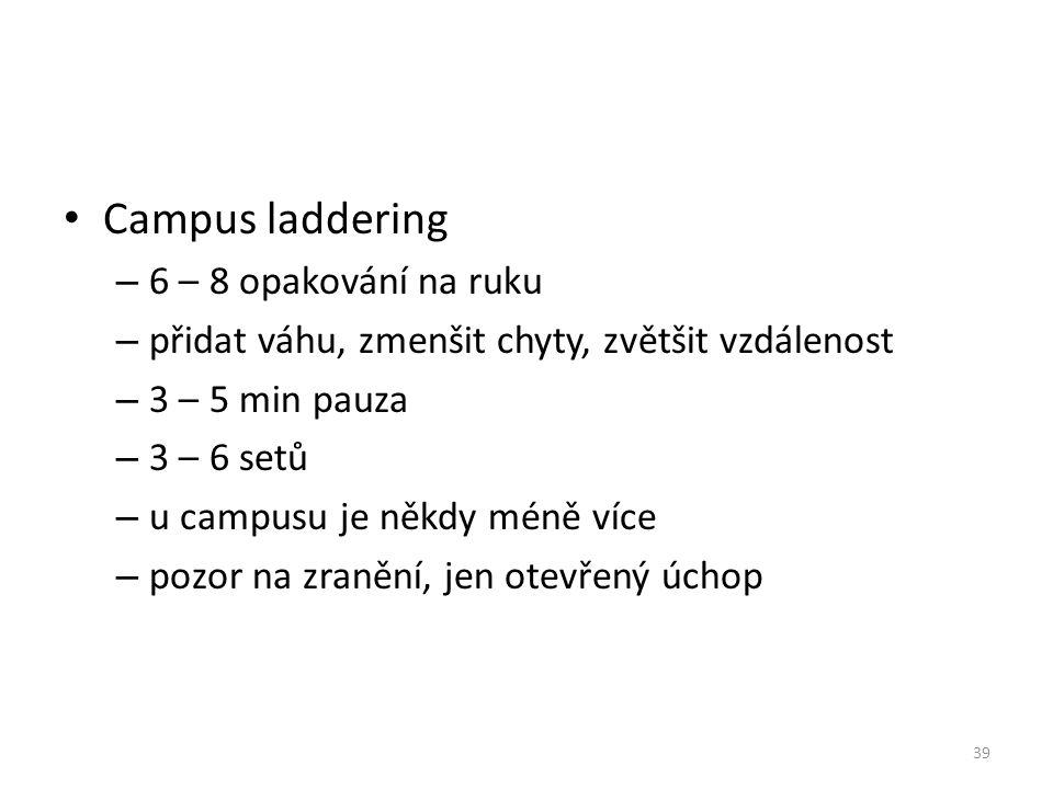 Campus laddering – 6 – 8 opakování na ruku – přidat váhu, zmenšit chyty, zvětšit vzdálenost – 3 – 5 min pauza – 3 – 6 setů – u campusu je někdy méně v