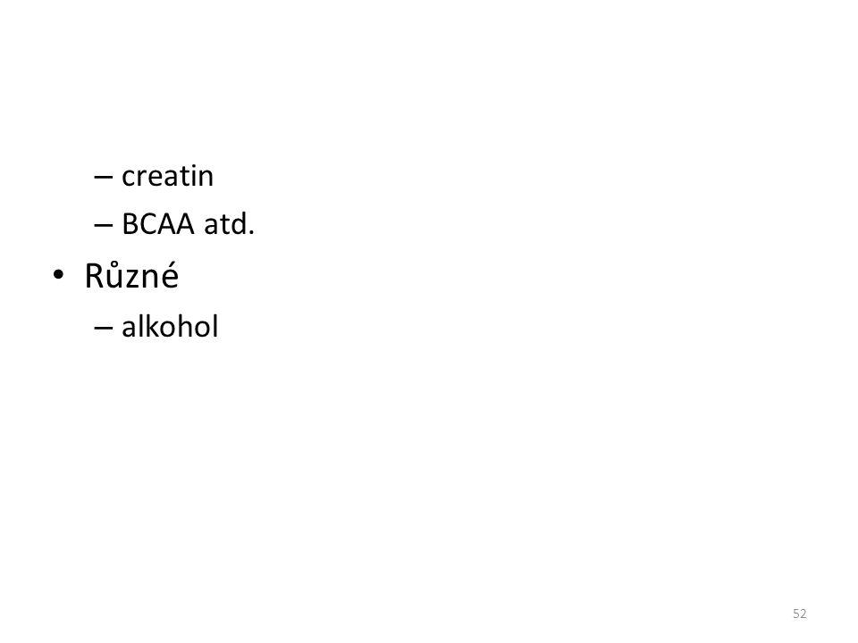 – creatin – BCAA atd. Různé – alkohol 52