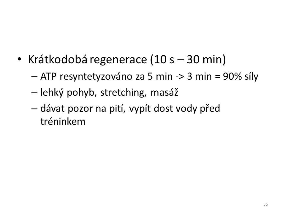Krátkodobá regenerace (10 s – 30 min) – ATP resyntetyzováno za 5 min -> 3 min = 90% síly – lehký pohyb, stretching, masáž – dávat pozor na pití, vypít dost vody před tréninkem 55