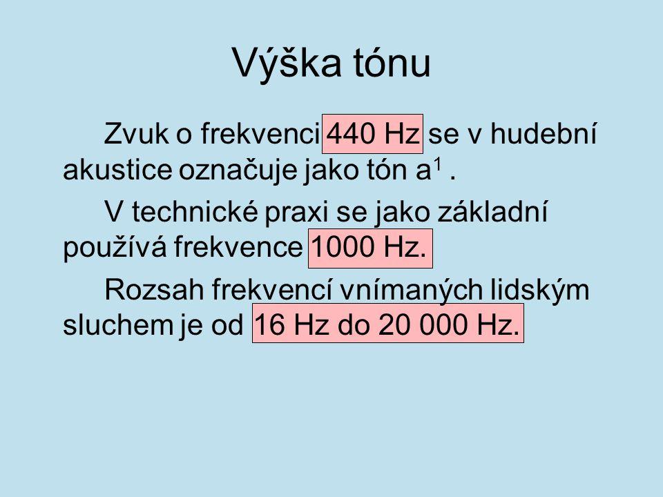 Zvuk o frekvenci 440 Hz se v hudební akustice označuje jako tón a 1. V technické praxi se jako základní používá frekvence 1000 Hz. Rozsah frekvencí vn