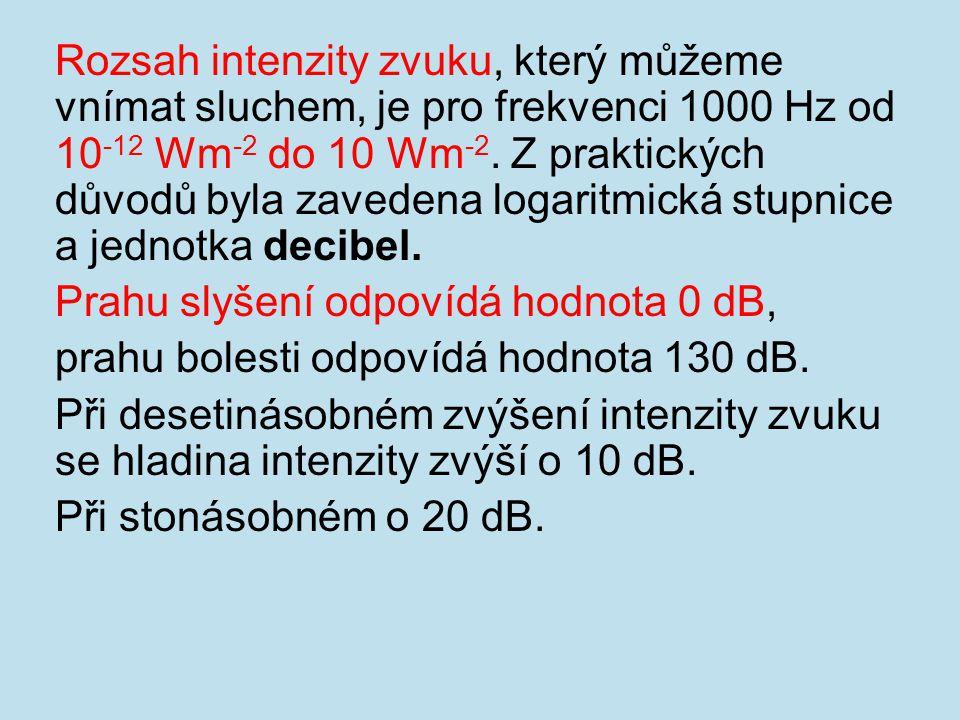 Rozsah intenzity zvuku, který můžeme vnímat sluchem, je pro frekvenci 1000 Hz od 10 -12 Wm -2 do 10 Wm -2. Z praktických důvodů byla zavedena logaritm