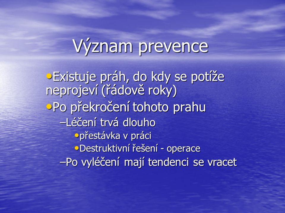 Význam prevence Existuje práh, do kdy se potíže neprojeví (řádově roky) Existuje práh, do kdy se potíže neprojeví (řádově roky) Po překročení tohoto p