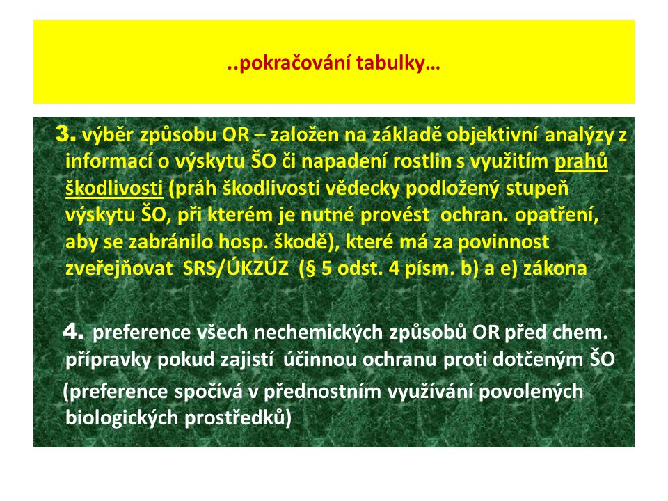 ..pokračování tabulky… 3. výběr způsobu OR – založen na základě objektivní analýzy z informací o výskytu ŠO či napadení rostlin s využitím prahů škodl