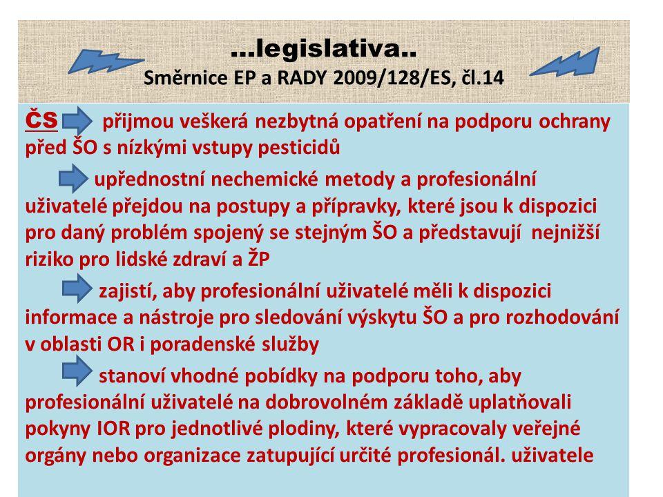 …legislativa.. Směrnice EP a RADY 2009/128/ES, čl.14 ČS přijmou veškerá nezbytná opatření na podporu ochrany před ŠO s nízkými vstupy pesticidů upředn