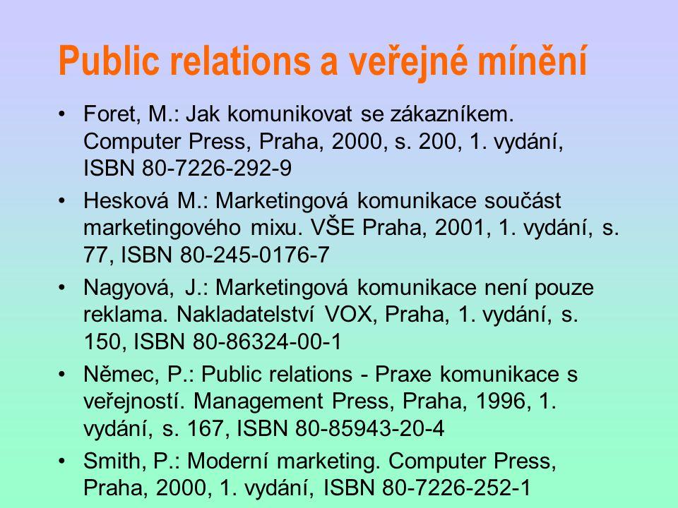 Public relations a veřejné mínění Foret, M.: Jak komunikovat se zákazníkem. Computer Press, Praha, 2000, s. 200, 1. vydání, ISBN 80-7226-292-9 Hesková