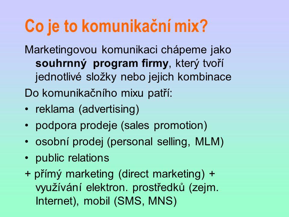 Co je to komunikační mix? Marketingovou komunikaci chápeme jako souhrnný program firmy, který tvoří jednotlivé složky nebo jejich kombinace Do komunik