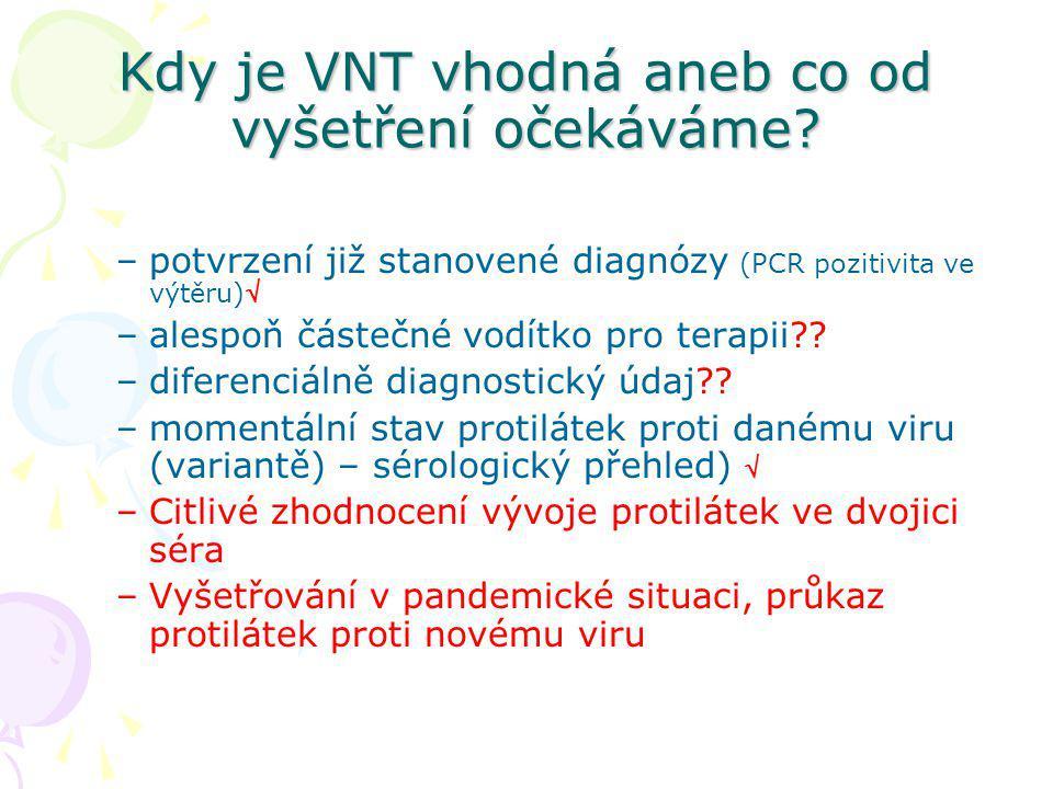Kdy je VNT vhodná aneb co od vyšetření očekáváme? –potvrzení již stanovené diagnózy (PCR pozitivita ve výtěru) –alespoň částečné vodítko pro terapii?