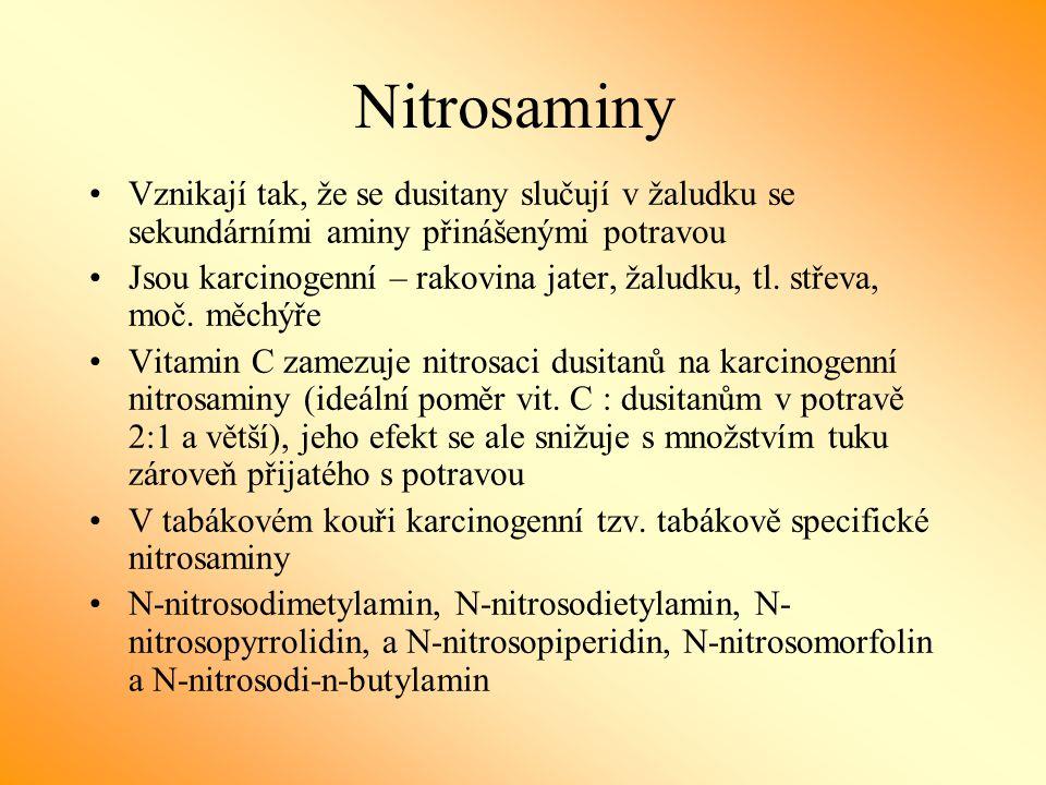 Nitrosaminy Vznikají tak, že se dusitany slučují v žaludku se sekundárními aminy přinášenými potravou Jsou karcinogenní – rakovina jater, žaludku, tl.