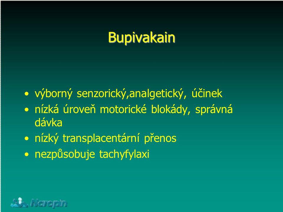 Bupivakain výborný senzorický,analgetický, účinek nízká úroveň motorické blokády, správná dávka nízký transplacentární přenos nezpůsobuje tachyfylaxi