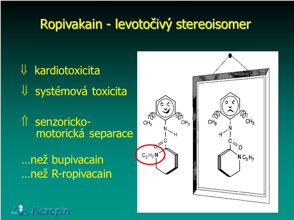 Ropivakain - levotočivý stereoisomer  kardiotoxicita  systémová toxicita  senzoricko- motorická separace …než bupivacain …než R-ropivacain