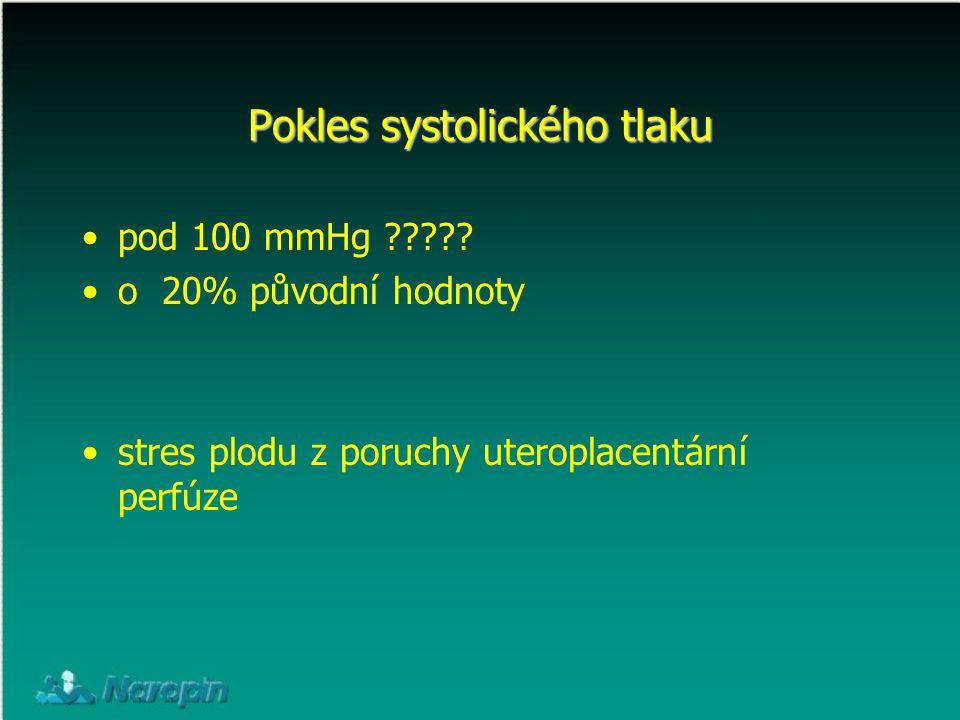 Pokles systolického tlaku pod 100 mmHg ????? o 20% původní hodnoty stres plodu z poruchy uteroplacentární perfúze