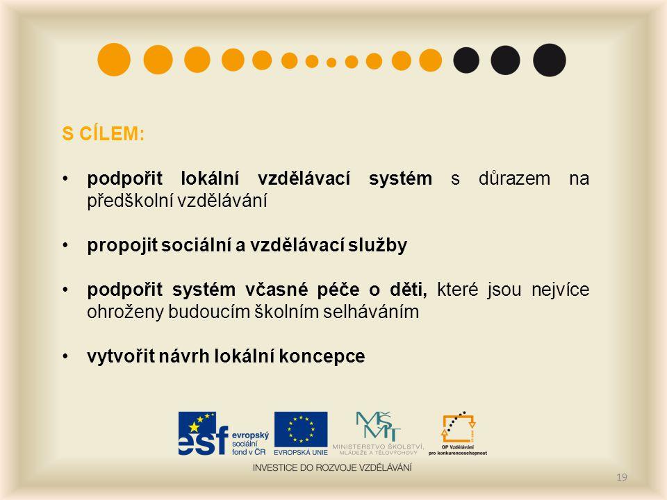 19 S CÍLEM: podpořit lokální vzdělávací systém s důrazem na předškolní vzdělávání propojit sociální a vzdělávací služby podpořit systém včasné péče o
