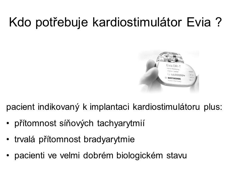 Kdo potřebuje kardiostimulátor Evia ? pacient indikovaný k implantaci kardiostimulátoru plus: přítomnost síňových tachyarytmií trvalá přítomnost brady