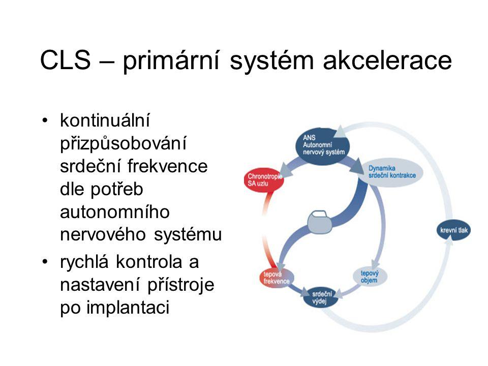 CLS – primární systém akcelerace kontinuální přizpůsobování srdeční frekvence dle potřeb autonomního nervového systému rychlá kontrola a nastavení přístroje po implantaci