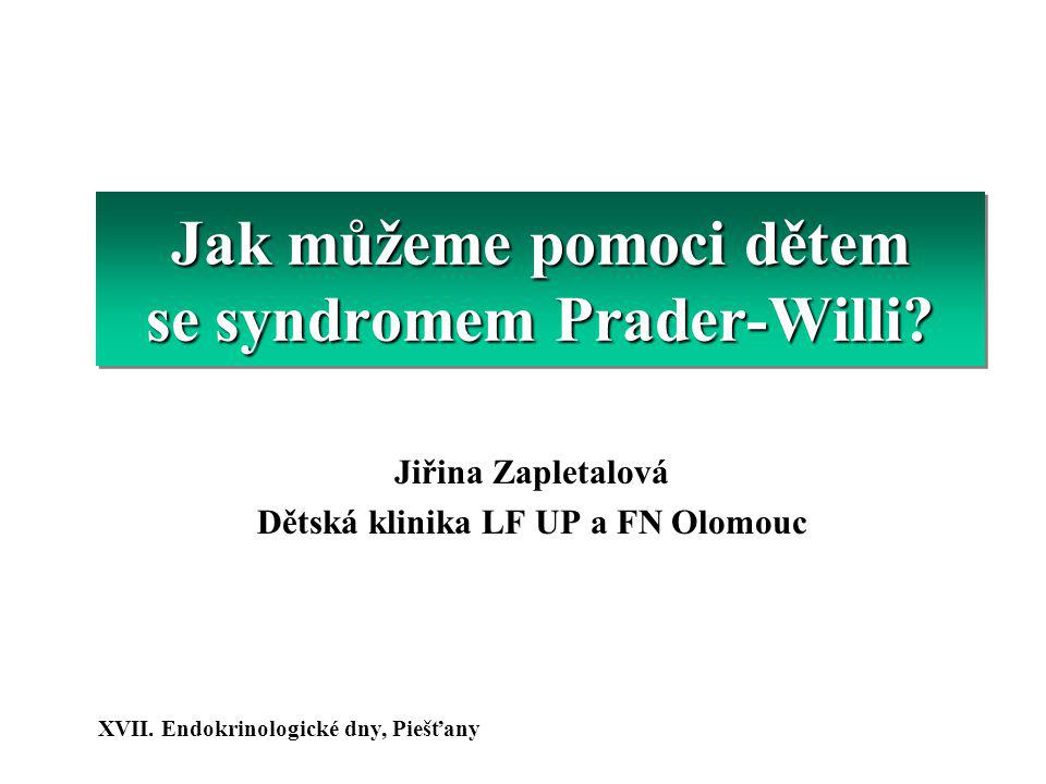 Syndrom Prader-Willi (diagnostika) 70-75% delece 70-75% delece 20-25% maternální disomie, translokace 20-25% maternální disomie, translokace Frekvence v populaci 1:15.000 V ČR žije asi 500-600 pacientů s PWS 15q11-q1315q11-q13