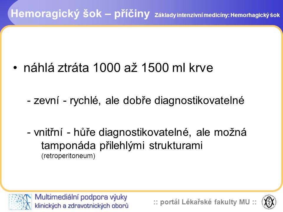 :: portál Lékařské fakulty MU :: Hemoragický šok – příčiny náhlá ztráta 1000 až 1500 ml krve - zevní - rychlé, ale dobře diagnostikovatelné - vnitřní