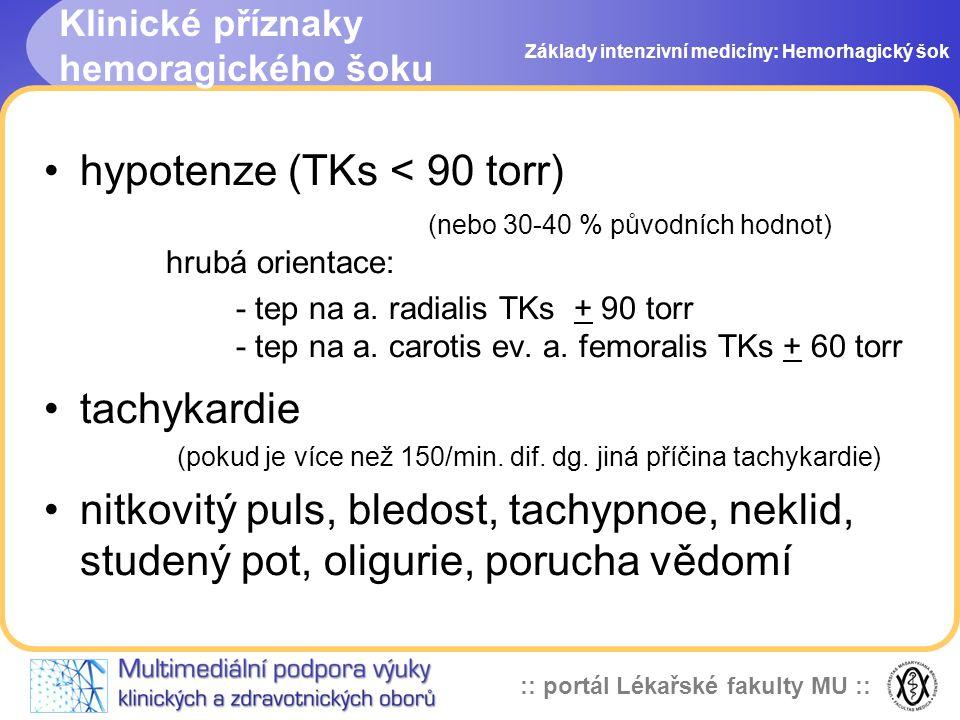 :: portál Lékařské fakulty MU :: Klinické příznaky hemoragického šoku hypotenze (TKs < 90 torr) (nebo 30-40 % původních hodnot) hrubá orientace: - tep