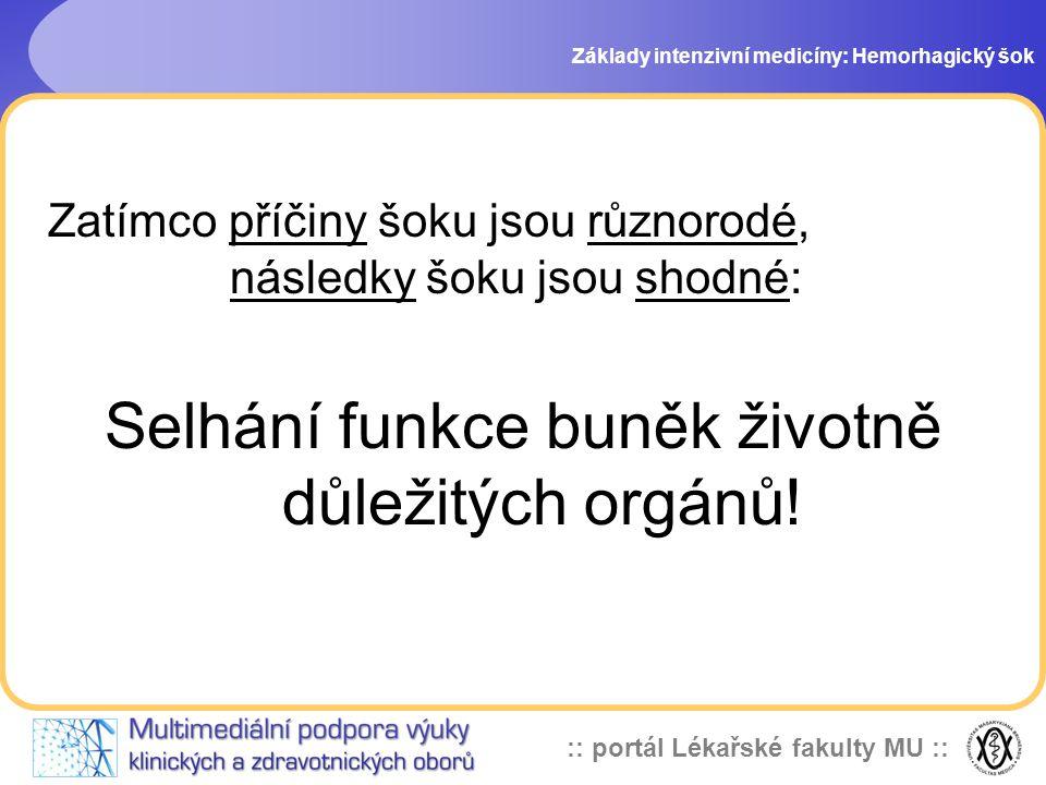:: portál Lékařské fakulty MU :: Zatímco příčiny šoku jsou různorodé, následky šoku jsou shodné: Selhání funkce buněk životně důležitých orgánů! Zákla