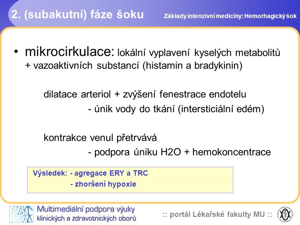 :: portál Lékařské fakulty MU :: 2. (subakutní) fáze šoku mikrocirkulace: lokální vyplavení kyselých metabolitů + vazoaktivních substancí (histamin a